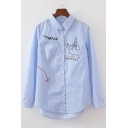 Fashion Embroidery Letter Print Long Sleeve Button Down Lapel Shirt