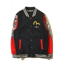Fancy Color Block Buddha Letter Printed Button Down Pockets Long Sleeves Baseball Jacket