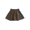 Girlish Tartan Plaids Pattern Elastic Waist Mini A-line Trendy Skirt