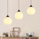 Industrial 20''W Multi Light Pendant with Globe Glass Shade, 3 Light