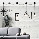 Industrial Nordical 5 Light Multi Light Pendant with Metal Cage Frame in Black
