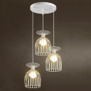 Industrial 3 Light Multi Light Pendant with Metal Cage in Nordical Style, White