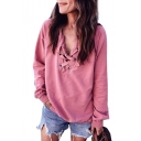 Fancy Plain Attached Lacing Front V-Neck Long Sleeves Pullover Sweatshirt