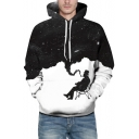 Fashionable Color Block Cartoon Figure Print Drawstring Hood Long Sleeve Hoodie for Couple