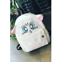 Adorable Cartoon Cat Pattern Zippered School Bag Backpack with Ears