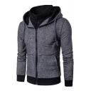 Fake Two Piece Color Block Print Long Sleeve Zipper Hoodie