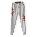 Chic Embroidery Floral Pattern Drawstring Waist Leisure Pants