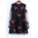 Chic Floral Embroidered Sheer Long Sleeve Round Neck Dress