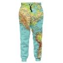 Hot Fashion 3D Map Print Drawstring Waist Pants