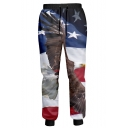 3D Eagle Star Color Block Print Drawstring Waist Pants