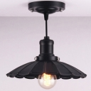 Single Light Down Lighting LED Pendant with Solid Black Stems and Floral Round Metal Shade