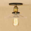 Industrial Vintage 8.7''W Flush Mount Ceiling Fixture with Ribbed Glass Shade