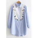Embroidery Cartoon Cat Floral Pattern Color Block Striped Long Sleeve Tunic Shirt