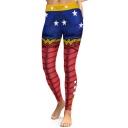 Spring Fashion Superhero Color Block Star Pattern Slim-Fit Elastic Waist Leggings