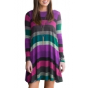 Spring Collection Round Neck Striped Pattern T-shirt Mini Dress with Pockets