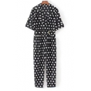 Vintage Polka Dot Pattern Notched Lapel Short Sleeves Summer Jumpsuit