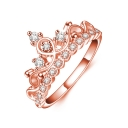 Crown Shaped Diamond Studded Rose Gold Finish Slim Shank Ring