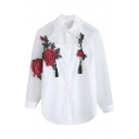 Stylish 3D Floral Rose Tassel Embellished Button Down Patchwork Shirt