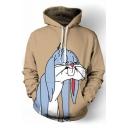 Chic Cartoon Rabbit Print Pocket Long Sleeve Hoodie