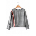 Stylish Checkered Plaids Striped Tassel Embellished Round Neck Cropped Blouse