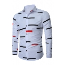 Spring Fashion Stripes Pattern Point Collar Long Sleeves Button Down Shirt