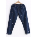 Pop Embroidered Cartoon Bear Pattern Elastic Waist Jeans