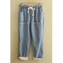 Lovely Soldiers Embroidered Drawstring Waist Roll Cuff Pants