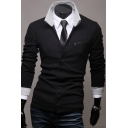 Spring Fashion Lapel Button Down Zipper Pocket Detail Color Block Cardigan
