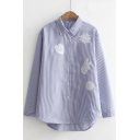 Simple Sweetheart Floral Hand Embroidery Point Collar Long Sleeves Button Down Shirt