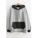 Sportive Color Block Hockey Embroidered Long Sleeves Pullover Hoodie with Pocket