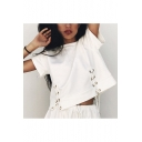 Summer Fashion Lace-up Round Neck Short Sleeves Cropped Casual Tee