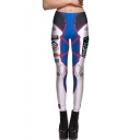Fashionable Color Block Robot Letter Pattern Slim-Fit Elastic Waist Leggings