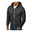 Men's Fashion Color Block Long Sleeves Zippered Hoodie with Pockets
