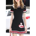 Fashionable Swan Striped Pattern Short Sleeve Round Neck Knitted Dress