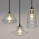 Industrial 13.8''W Multi Light Pendant with Clear Glass Shade, 3 Light