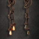 Industrial Vintage 2 Light Multi-Light Pendant Light with Rope in Open Bulb Style