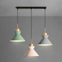 Industrial Modern Colorful Multi Light Pendant with Cone Metal Shade, 3 Light, 20''W