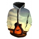 Fancy Guitar Printed Long Sleeves Pullover Leisure Hoodie with Pocket
