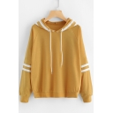 Basic Striped Pattern Long Sleeves Pullover Leisure Casual Hoodie