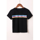 Fashionable Rainbow Pattern Round Neck Short Sleeves Summer T-shirt