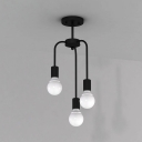 Industrial 3 Light Semi-Flush Ceiling Light in Open Bulb Style, Black
