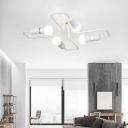 Industrial Wrought Iron 4 Light Semi-Flush Ceiling Light in Open Bulb Style, Black/White