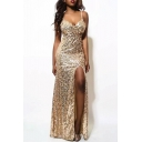 Party Style Spaghetti Straps Split Front Sequined Maxi Bodycon Dress