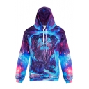 Stylish Lion Galaxy Pattern Long Sleeves Pullover Hoodie with Pocket