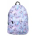 Repetitive Cartoon Unicorn Print Backpack/School Bag