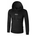 Basic Letter Print Long Sleeve Drawstring Hood Pocket Hoodie