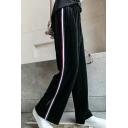 Sportive Striped Side Elastic Waist Wide Leg Loose Velvet Leisure Pants