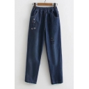 Hot Sale Cartoon Embroidered Elastic Waist Lace Hem Jeans