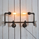 Industrial 22''W Multi Light Wall Sconce with Pipe Fixture Arm in Open Bulb Style, 2 Light