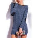 Popular Boat Neck Elbow Patches Cable Knitted Bodycon Mini Sweater Dress